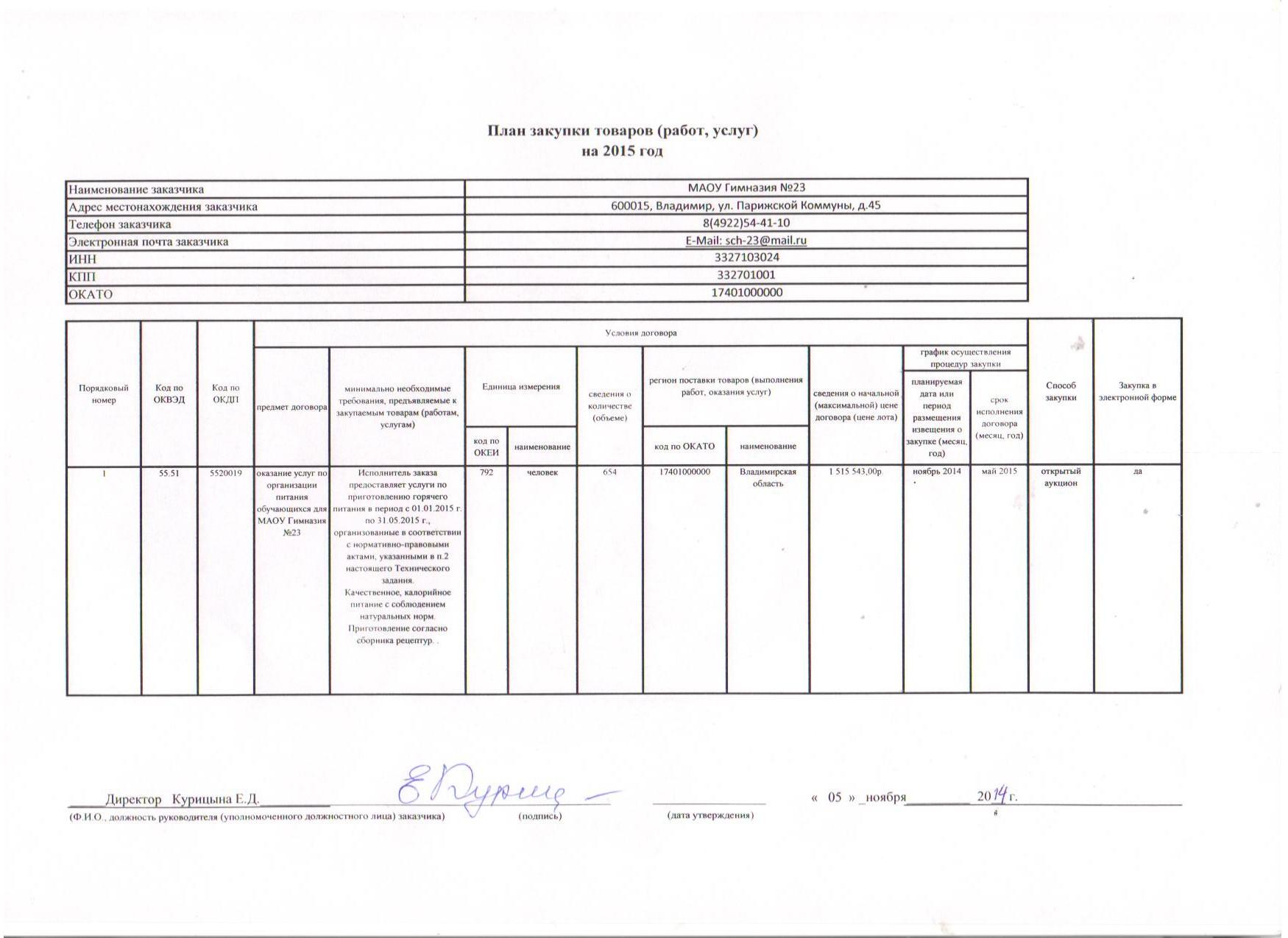 план закупок 05.11.2014